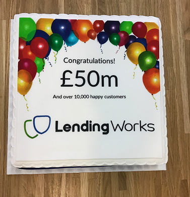 A cake to celebrate lending our 50 millionth pound