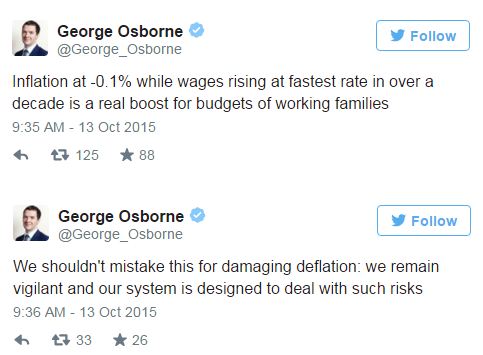 George Osborne highlights the benefit of deflation for working families