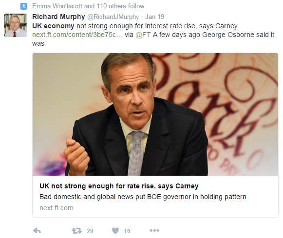 Mark Carney said the UK's economy wasn't strong enough for an interest rate rise