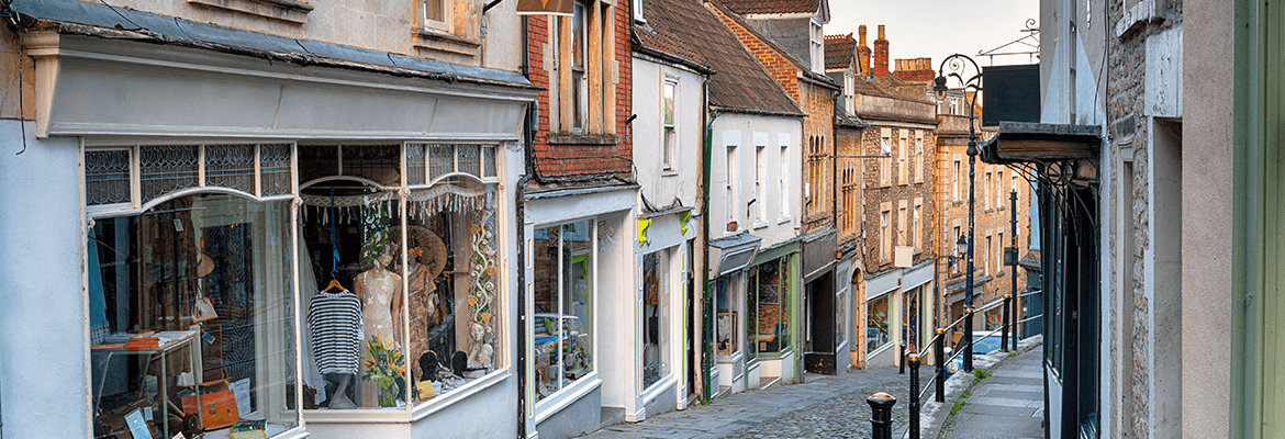 UK Cobble Street With Shops