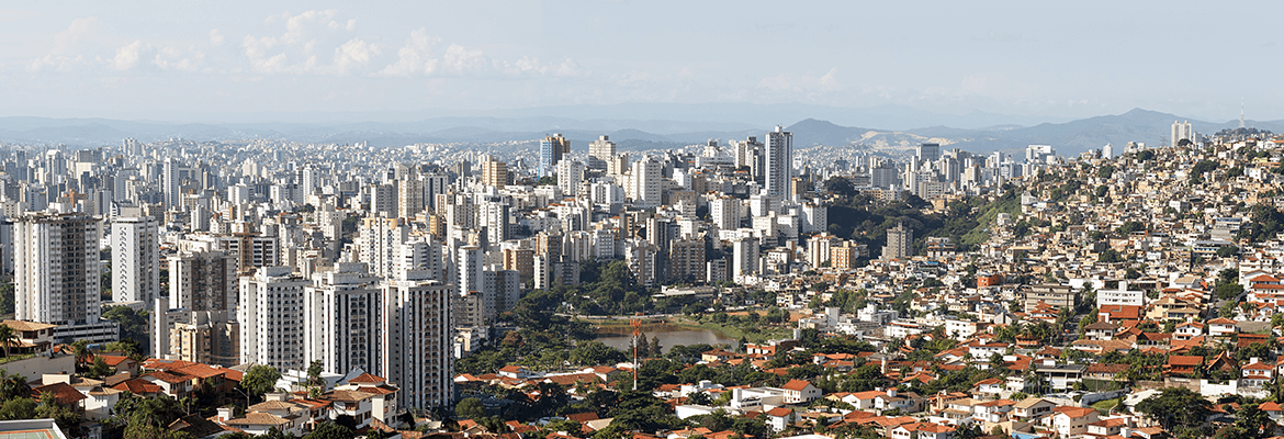 Panoramic Photo Showing Two Different Sides Of A City